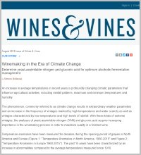 L'articolo WINEMAKING IN THE ERA OF CLIMATE CHANGE of Simone Bellassai, CDR WIneLab specialist, pubblicato su Wines&vines